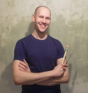 Thijs Jansen met penselen